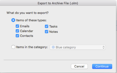 export olm file from outlook