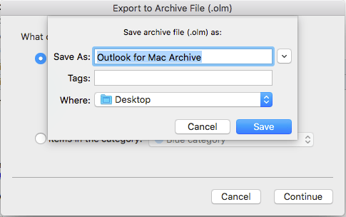 how to export olm file from outlook mac